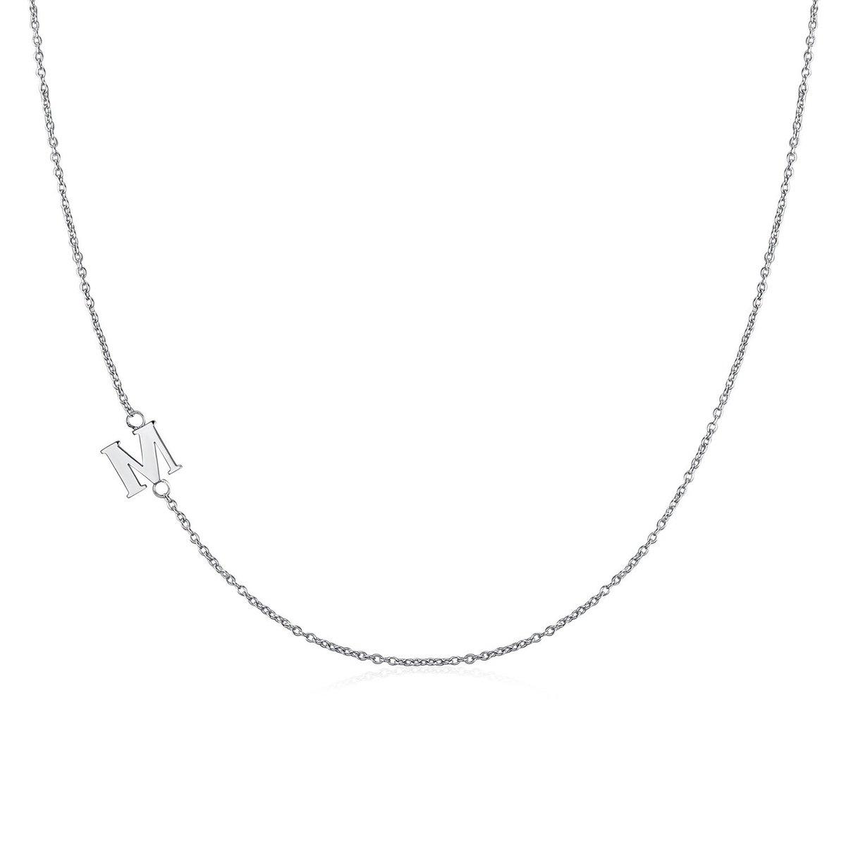 .925純銀鍍18K金M字母項鍊 | 情人節禮物