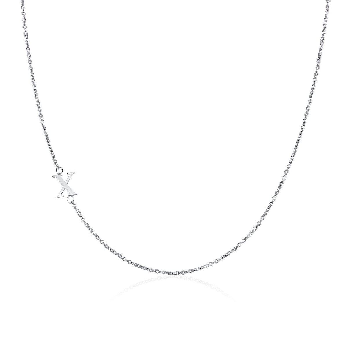 .925 Sterling Silver Sideway Letter X Necklace (18k white gold plating)