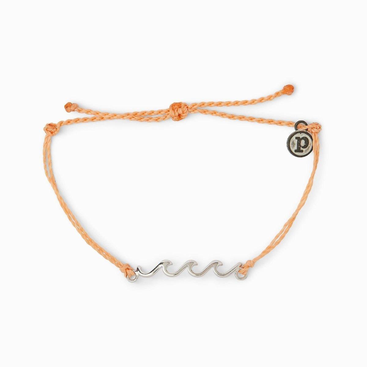 Silver Delicate Wave Bracelet・Peach