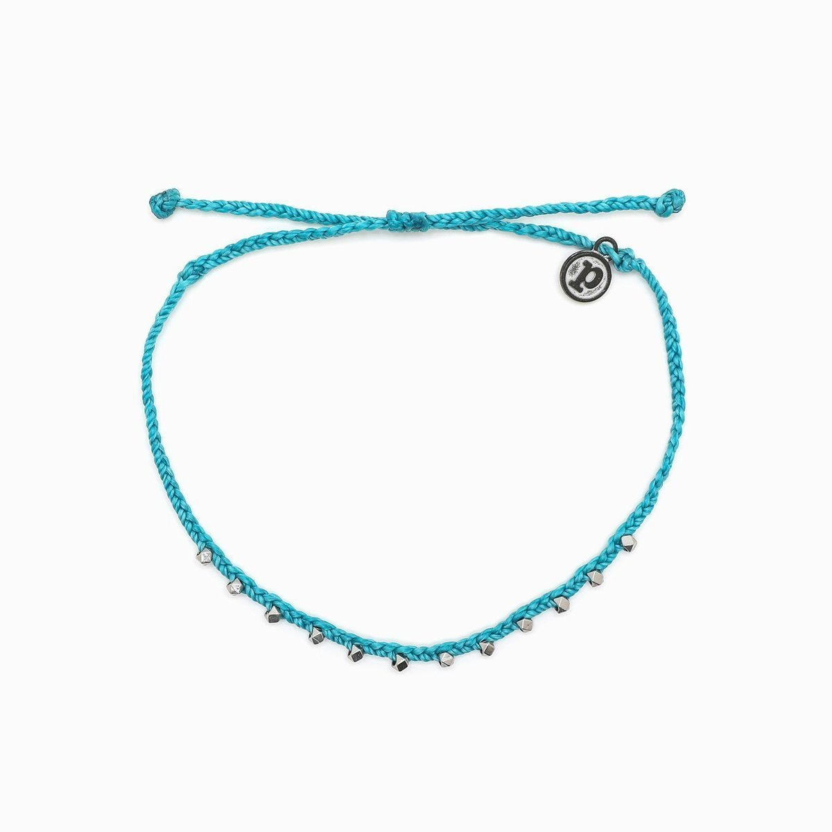 Stitched Beaded Anklet・Silver Pacific Blue