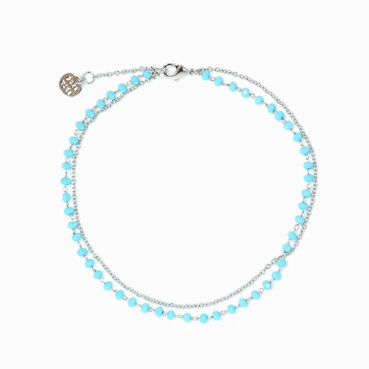 Beaded Chain Anklet・Silver Blue