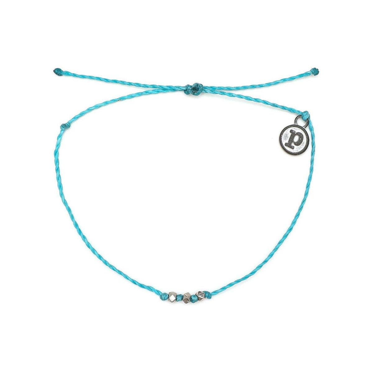 Silver Delicate 3 Bead Bracelet・Light Blue