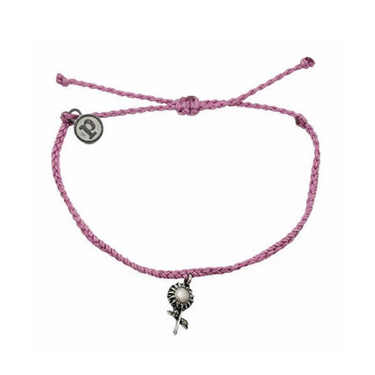 Silver Sunflower Bracelet・Lavender