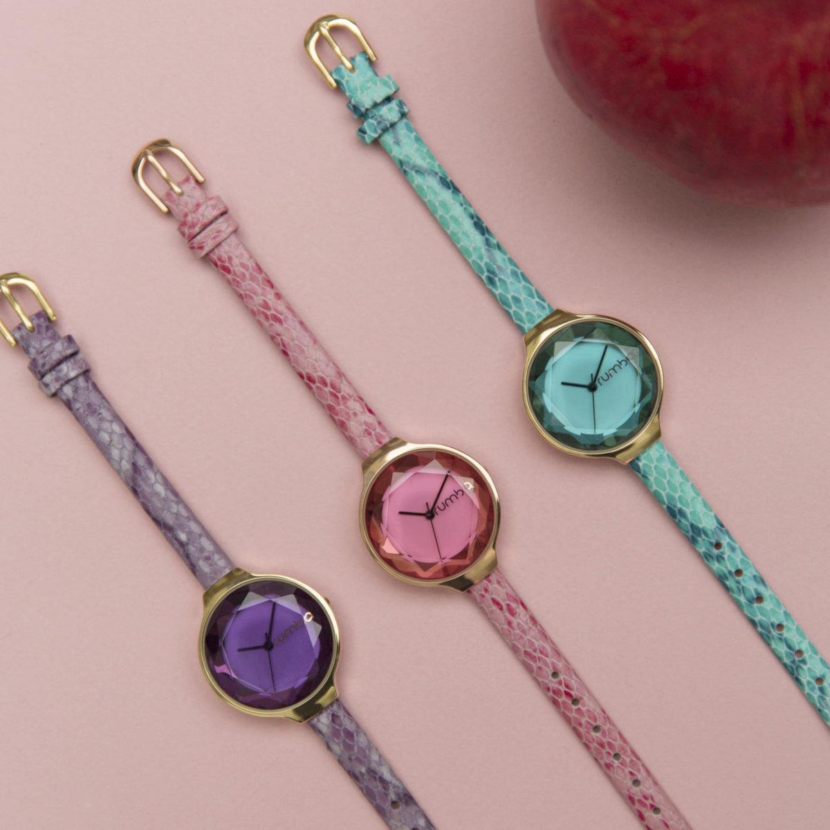 寶石切割錶面真皮手錶・Aqua(湖水綠)