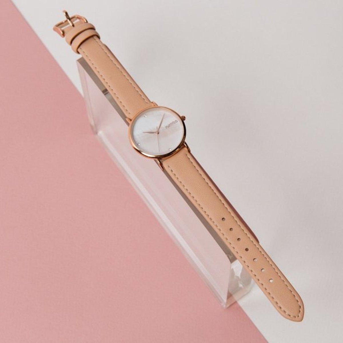 34mm Lafayette裸粉色真皮手錶