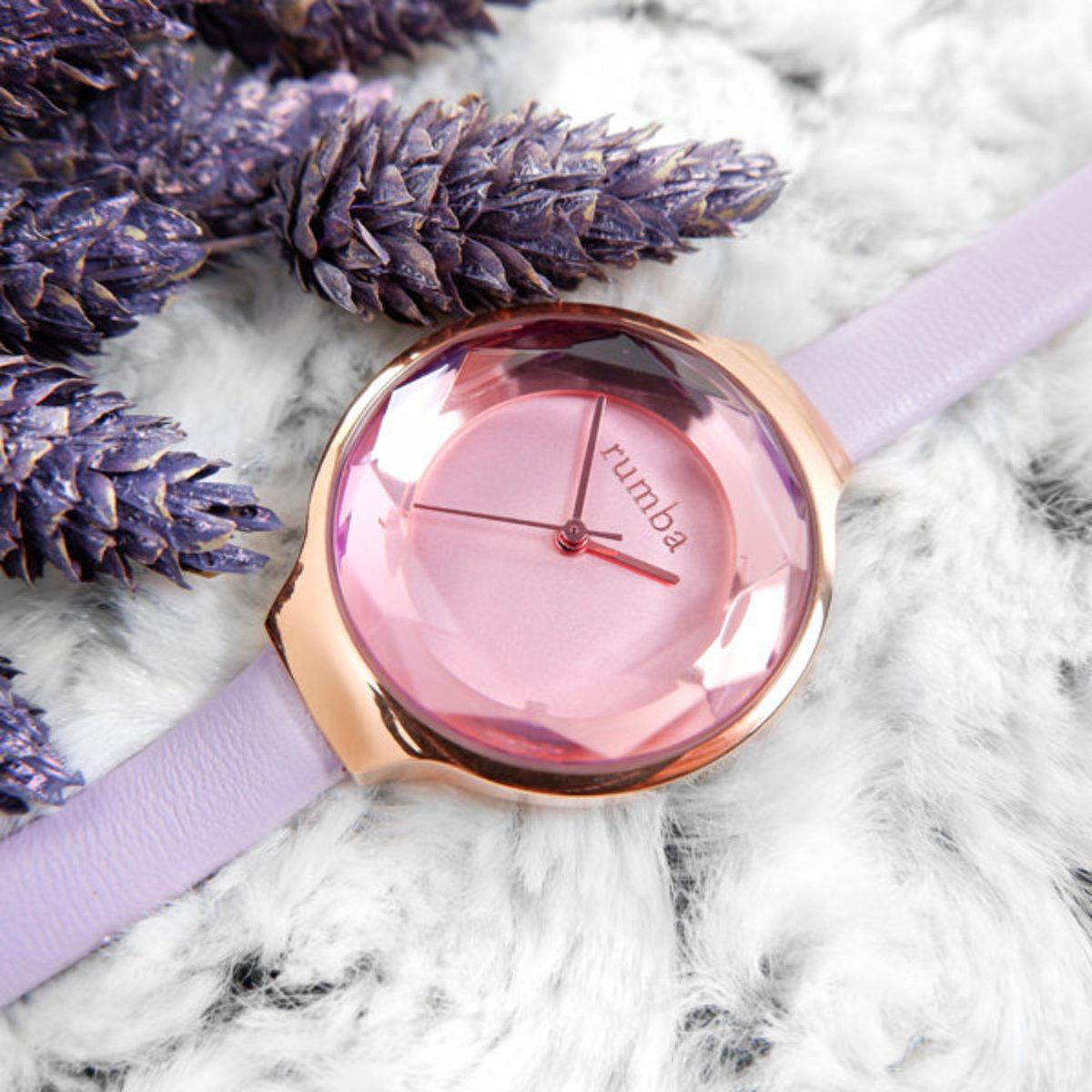 薰衣草紫色寶石切面真皮腕錶