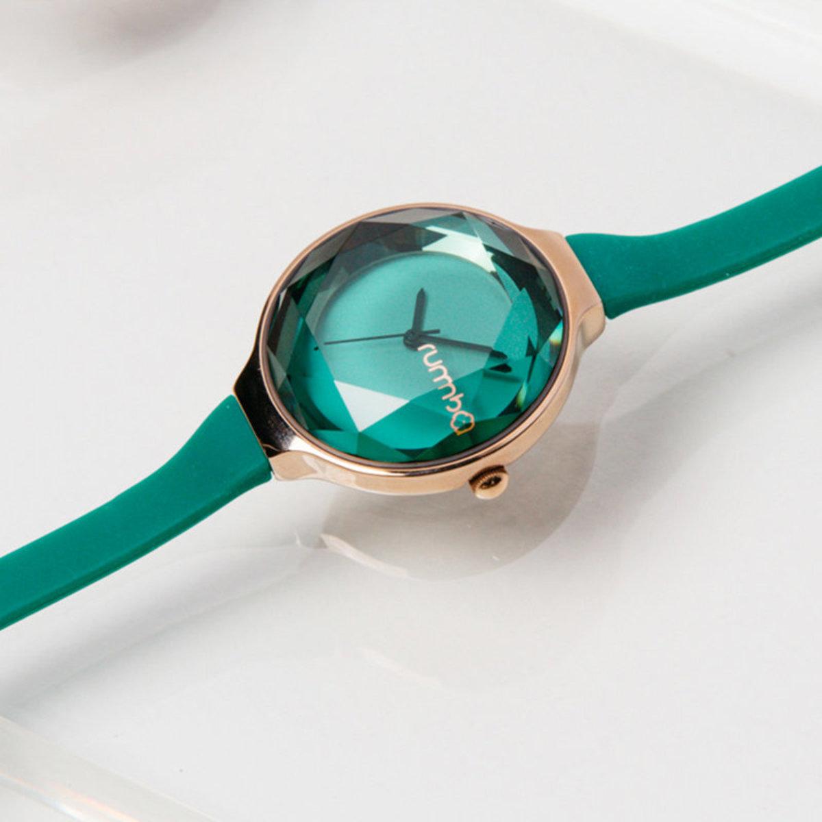 寶石切割30mm腕錶・Emerald