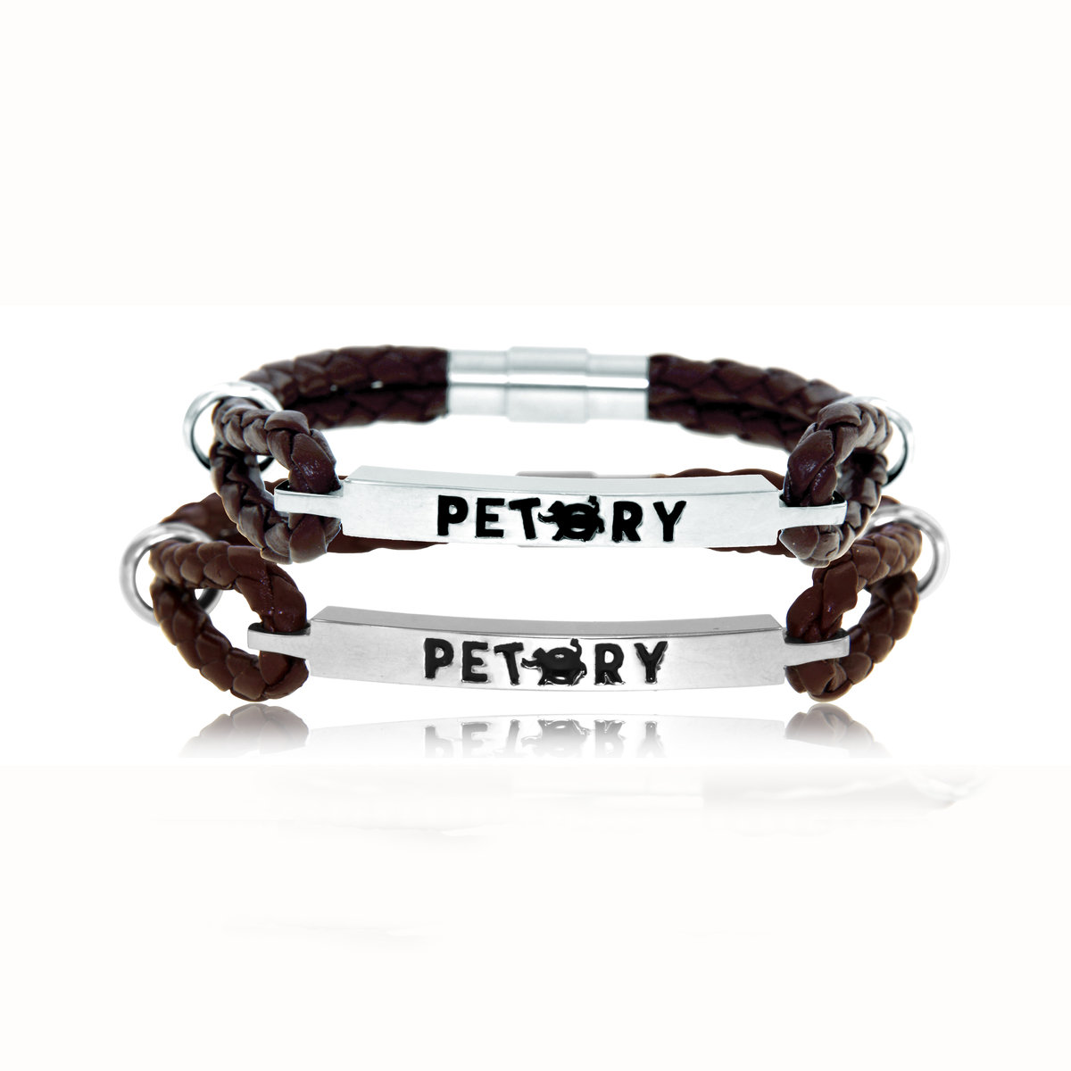 """Petory"" Stainless steel & Leather Couples Bracelet (male+female per set)"