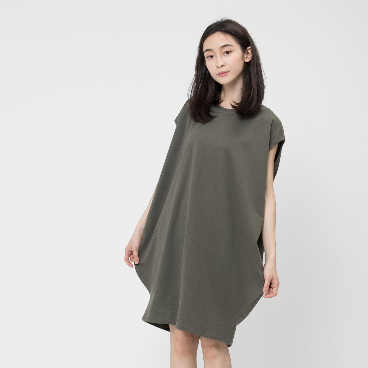 French terry lantern dress Green