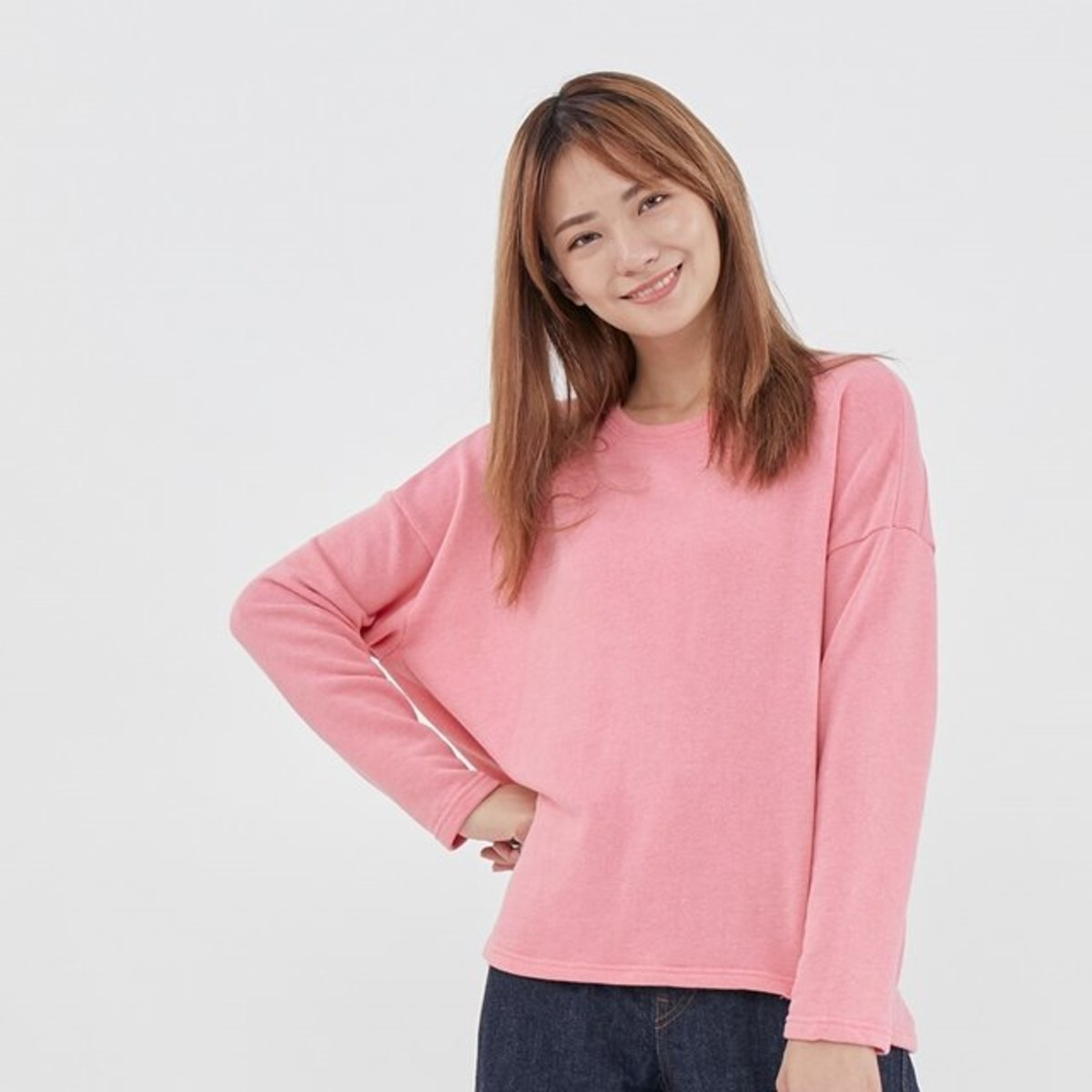 Plain French Terry Long Sleeves T-shirt Pink