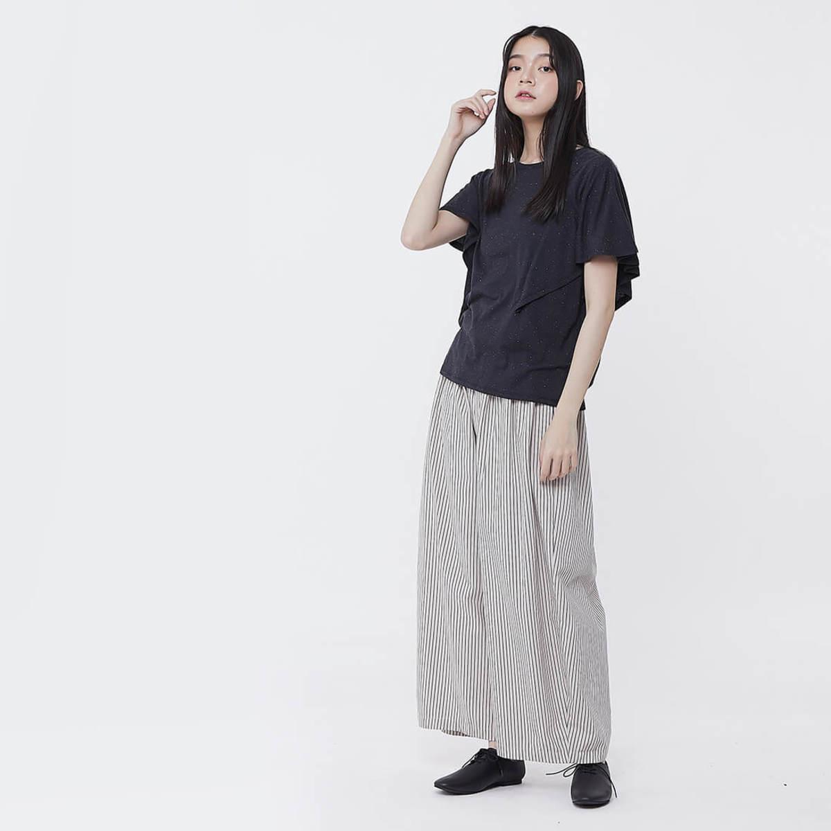 Egan Linen Cotton Wide Pants Kakhi Stripe