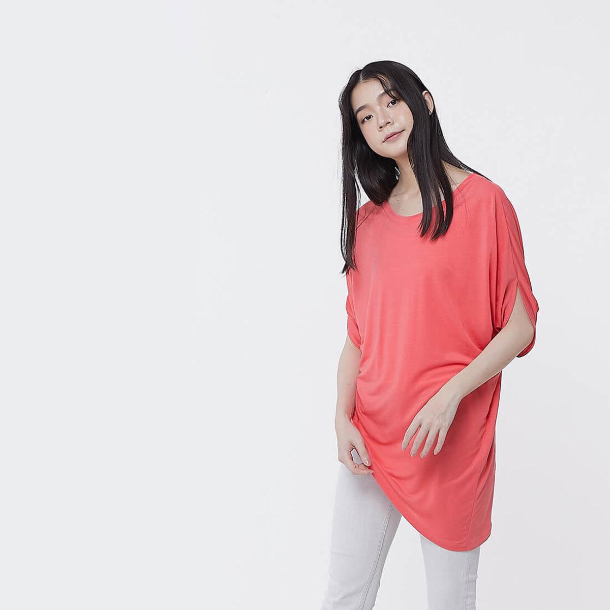 Nancy Drop Shoulder Asymmetry Soft Top Carol Red