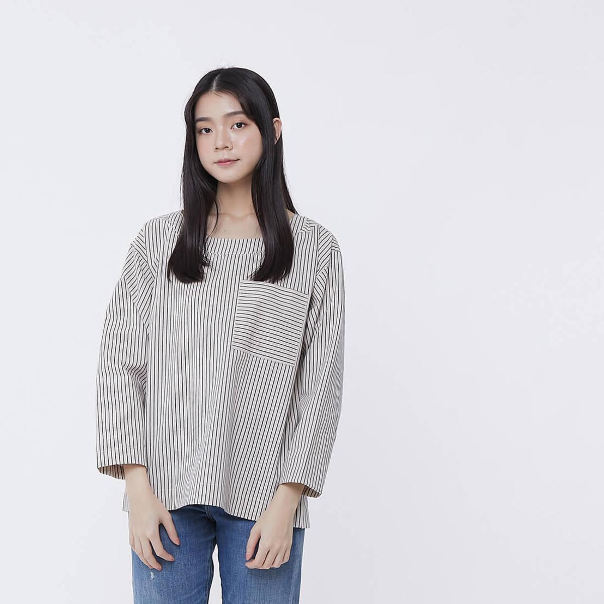 Eva Linen Cotton Simple Pocket Top Khaki Stripe