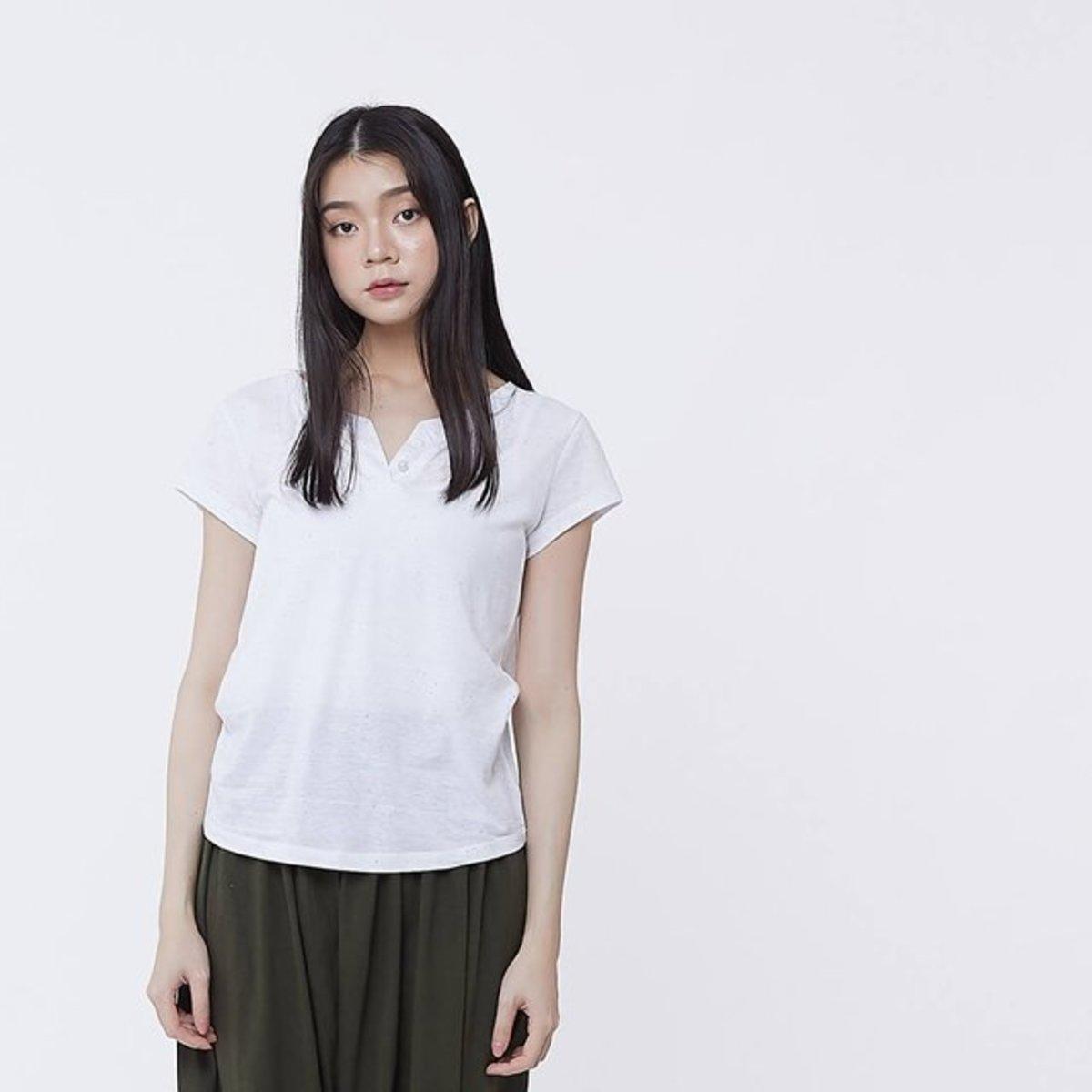 Nap Dots Cotton Fabric Henley T-shirt Top White