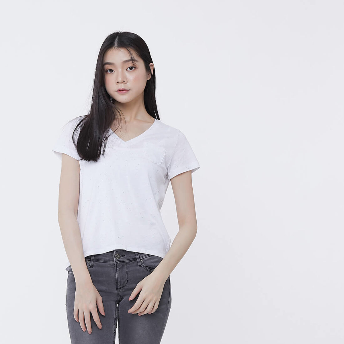 Nap Dots Cotton Fabric V-neck Swallowtail T-shirt Top White