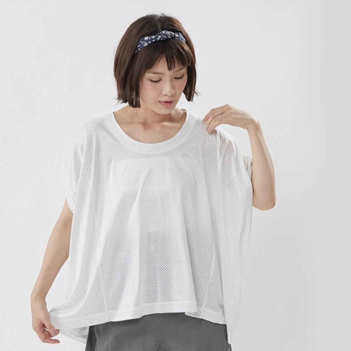 Lucia Pindots Wide Cotton Drapy Top White