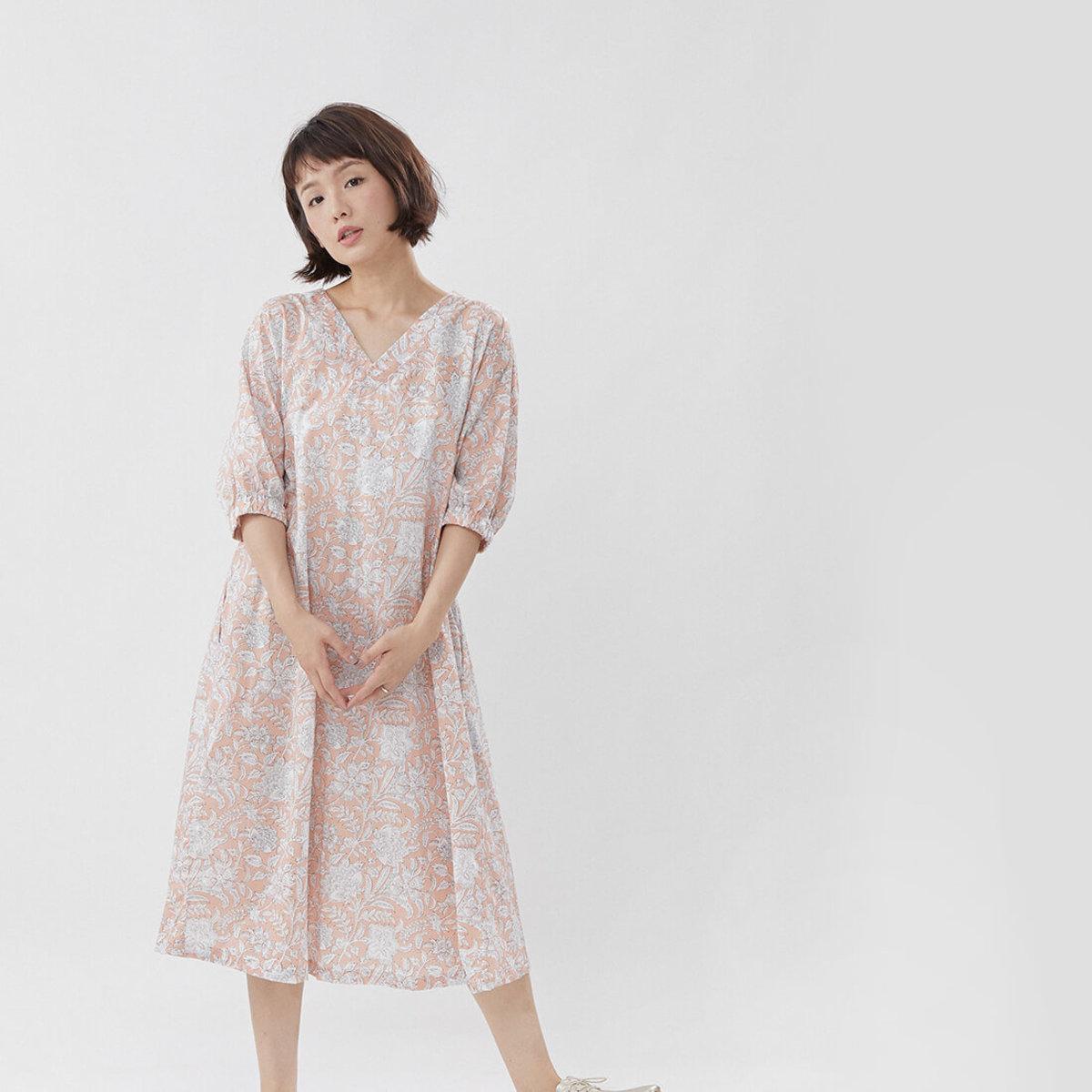 Fifi Flower Printed Cotton Summer Long Dress Pink