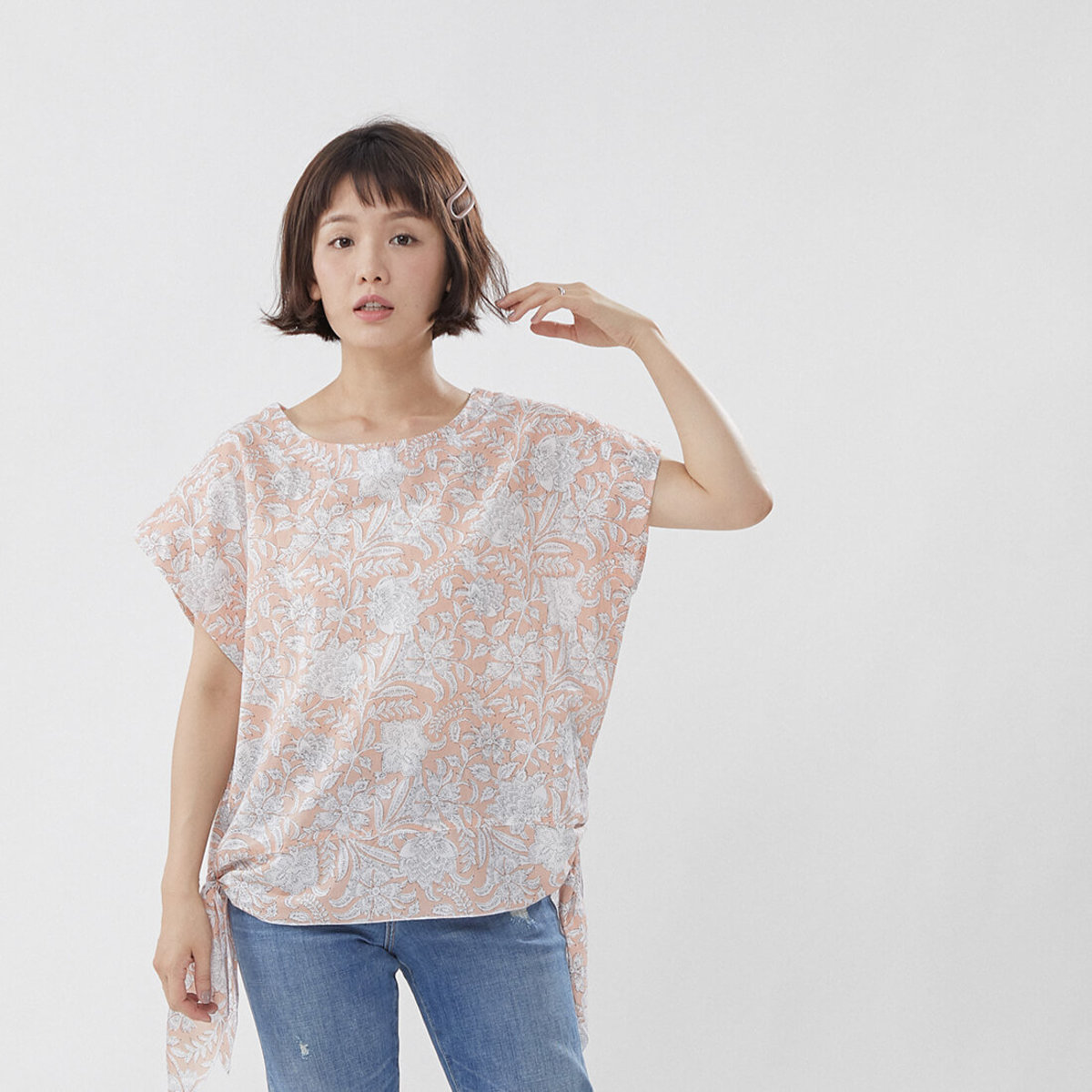 Elisa Cotton Floral Printed Knot-side Cotton Top Pink
