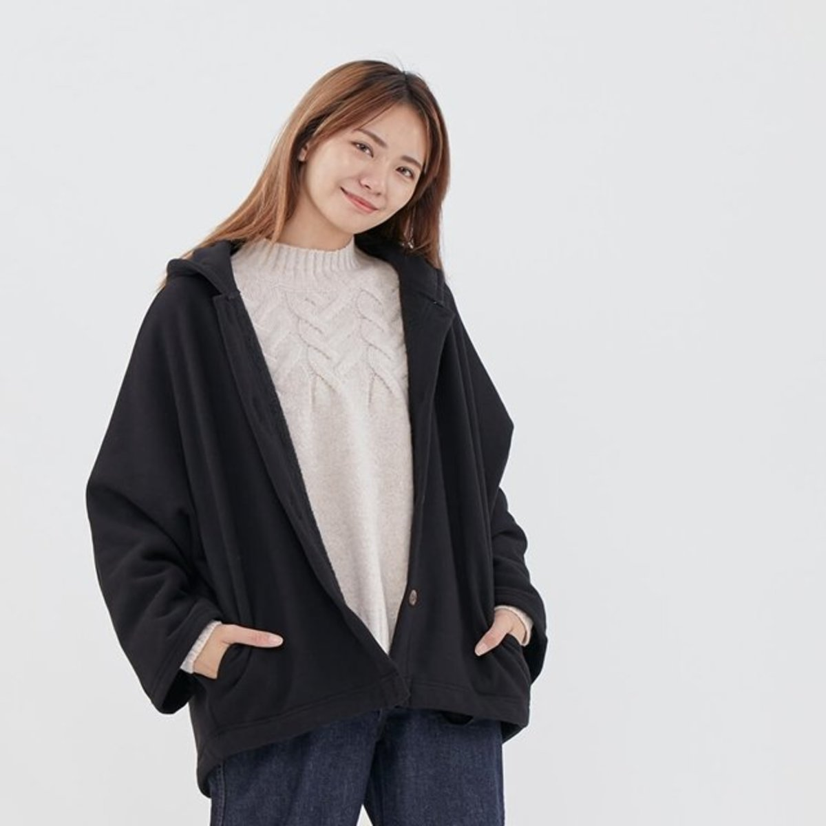Dove Pure Color Wide Sleeve Hooded Jacket Black