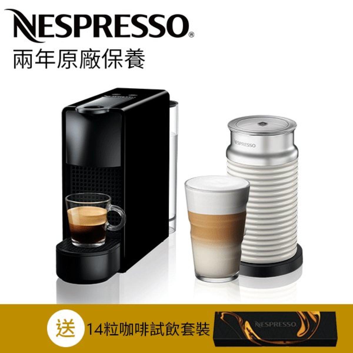 Essenza Mini 鋼琴黑色咖啡機 + Aeroccino3 白色打奶器
