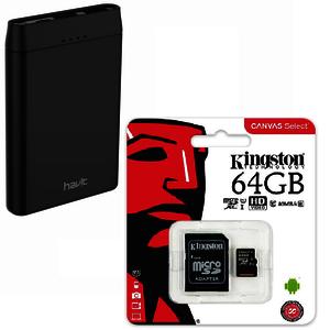 Kingston class 10 MicroSD 64GB + Havit 5000mAh