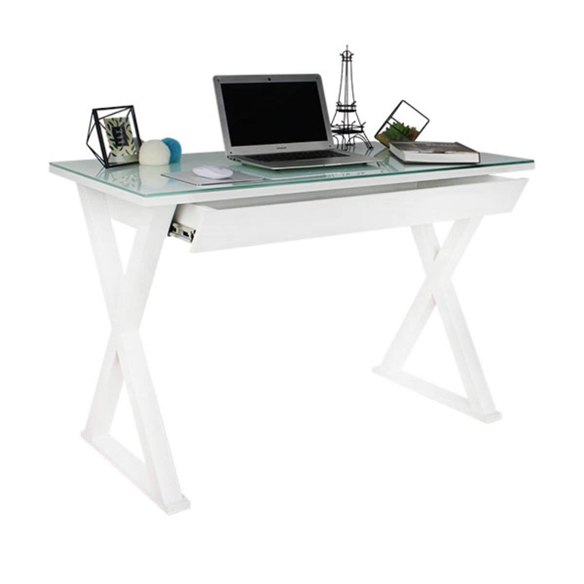 X型白色抽屜電腦桌