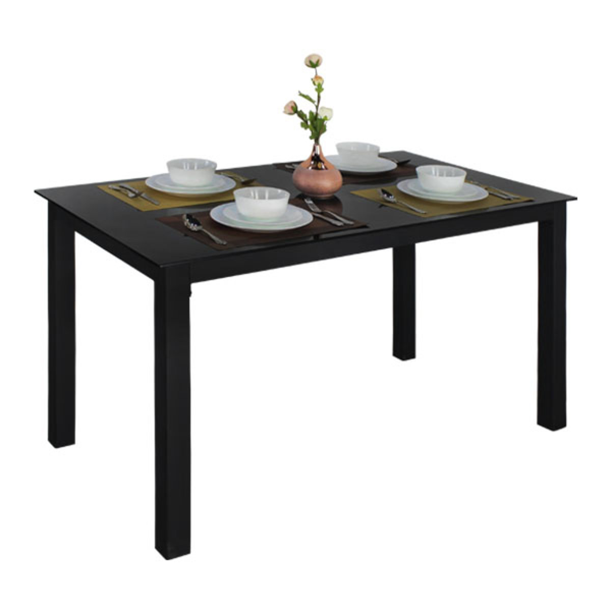 Rectangle Dining Table with Glass Table Top (Black)