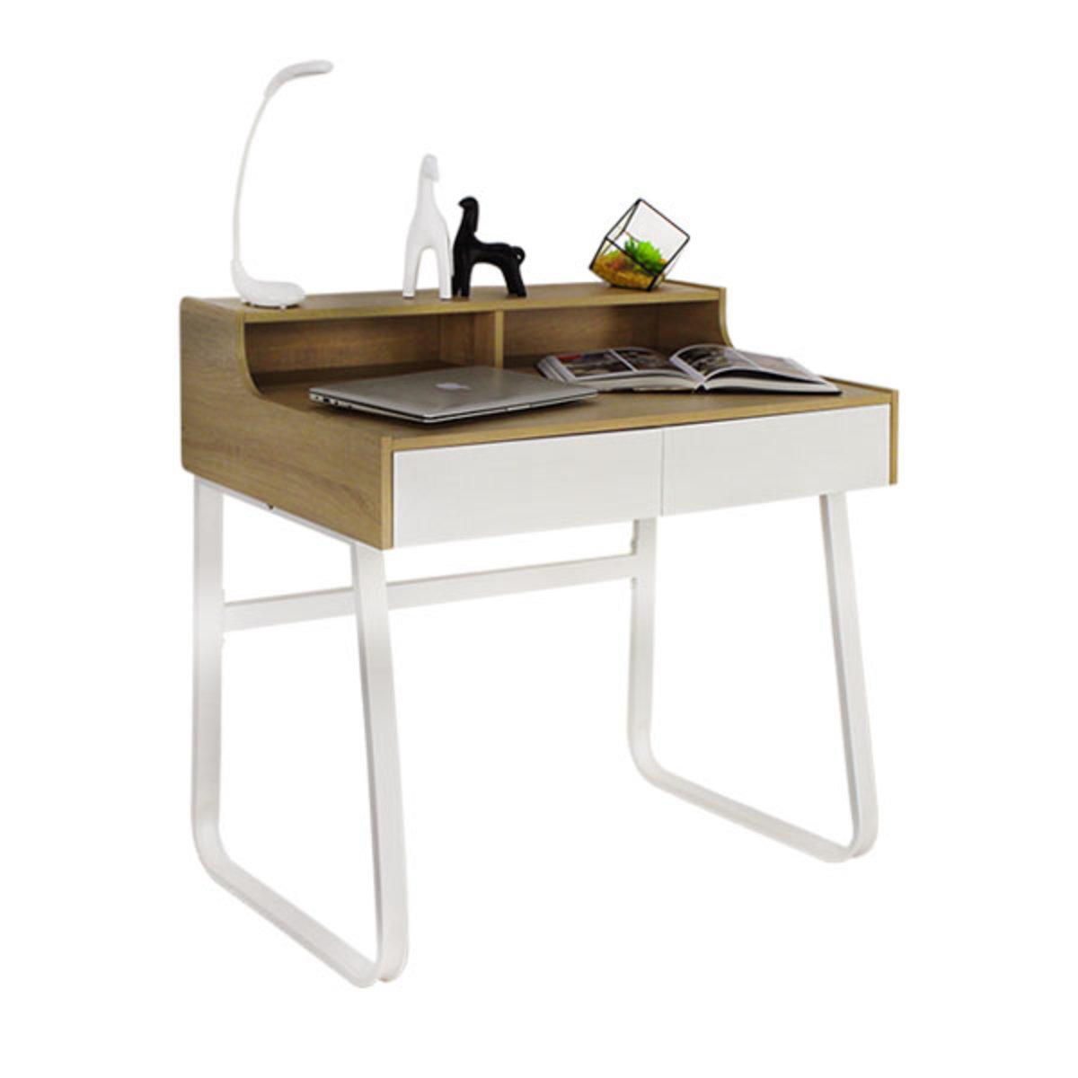 白色雙抽屜電腦桌