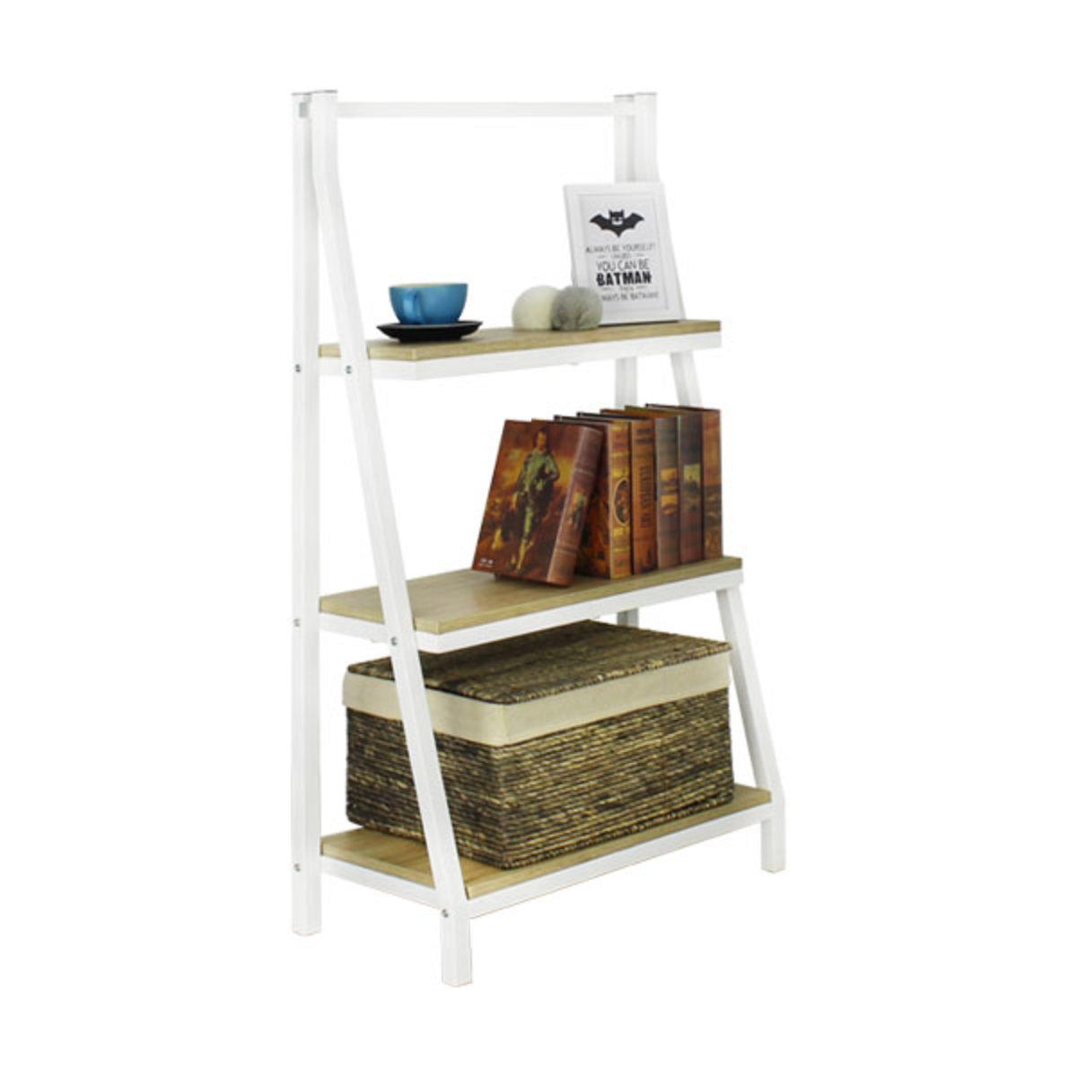 3-Tier Metal Bookcase (White)