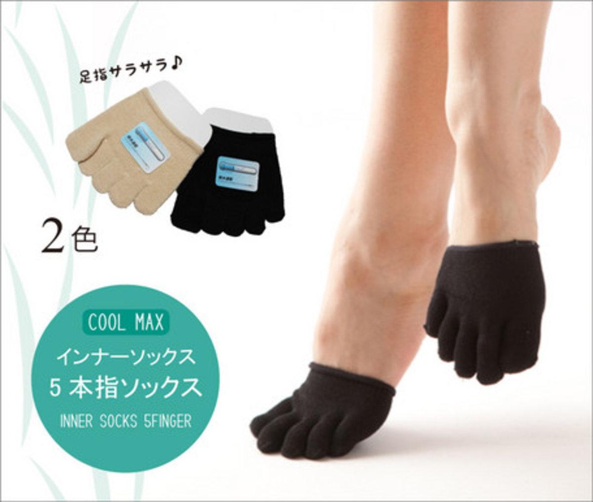 日本製 Cool Max系列5指半身襪 1對 (黒色)