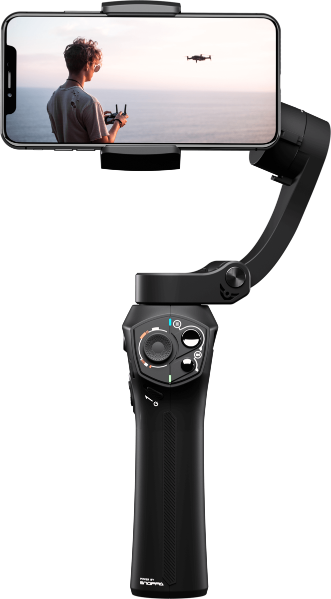 Atom 3-Axis Foldable Gimbal for Smartphone & GoPro Hero 4 5 6 | BLACK | Original & Authorised Product with 1 Yr Warranty