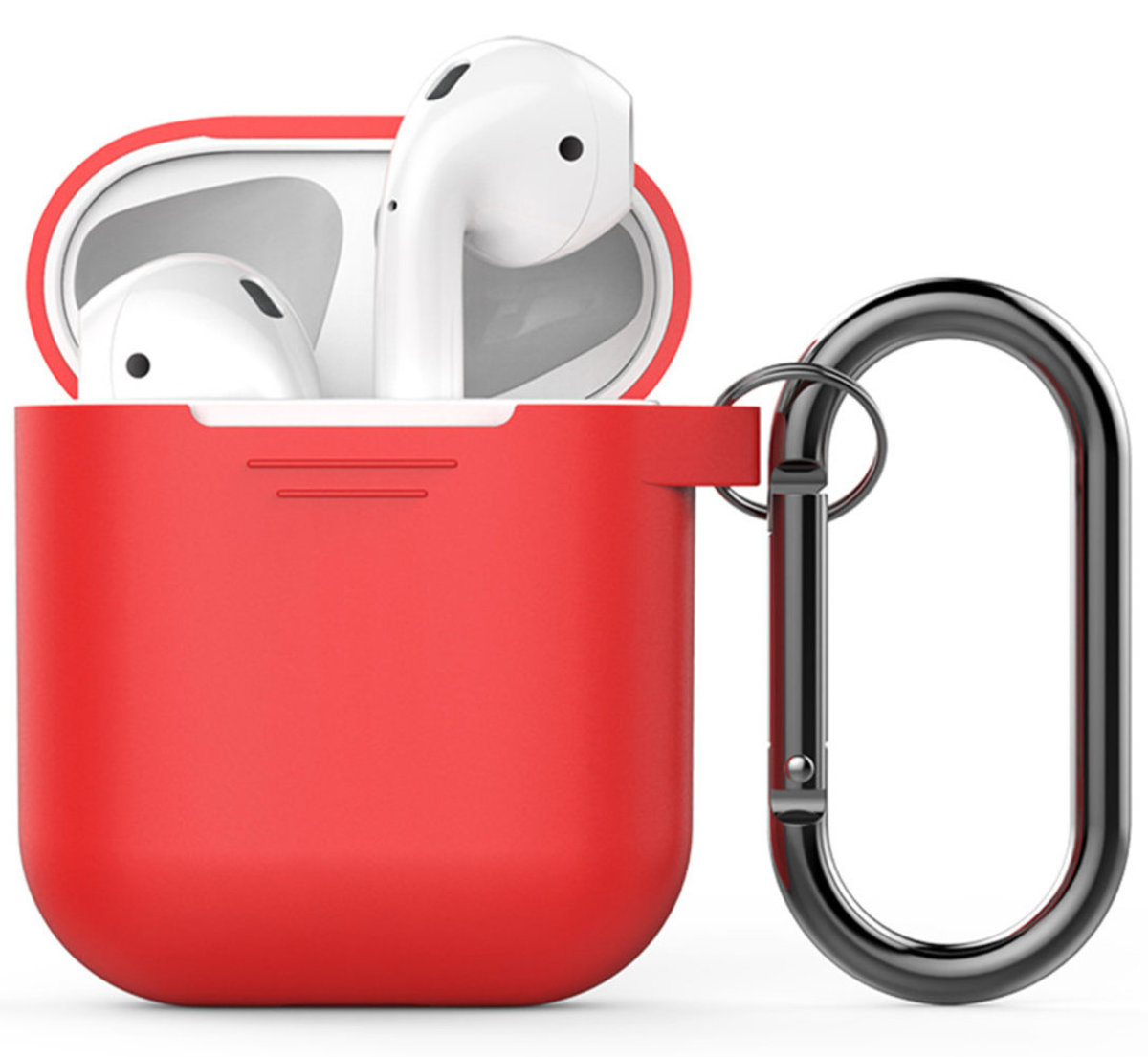 PodFit 2.0  Silicone Case Protective Cover Skin Compatible with Apple AirPods 2 & 1 RED