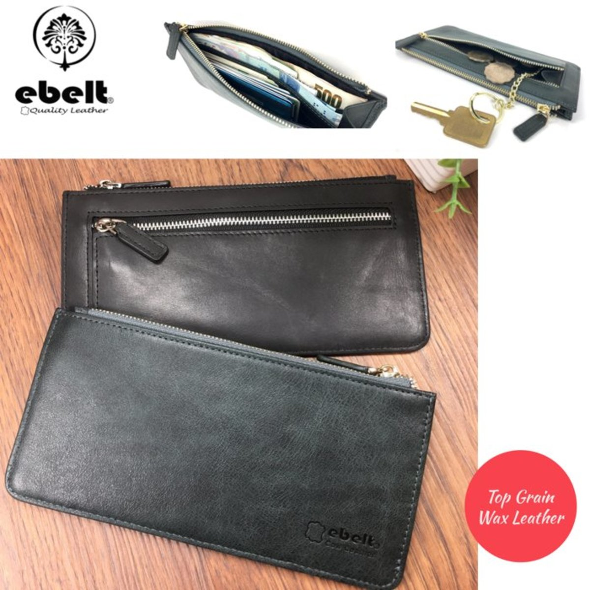 ebelt Full Grain Wax Leather Slim Long Wallet - WM0134