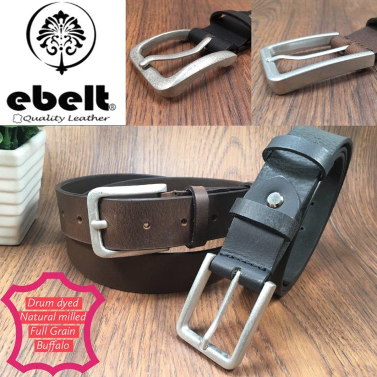 ebelt 印度製 頭層水牛皮皮帶 BUFFALO FULL GRAIN LEATHER BELT 3.2cm- ebc0328