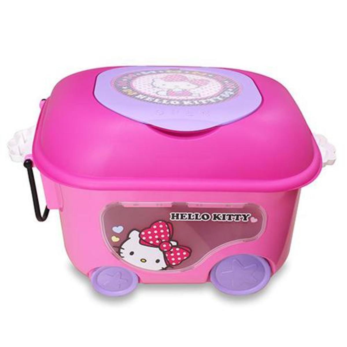 Hello Kitty 可拉式滾輪置物箱 (平行進口貨)