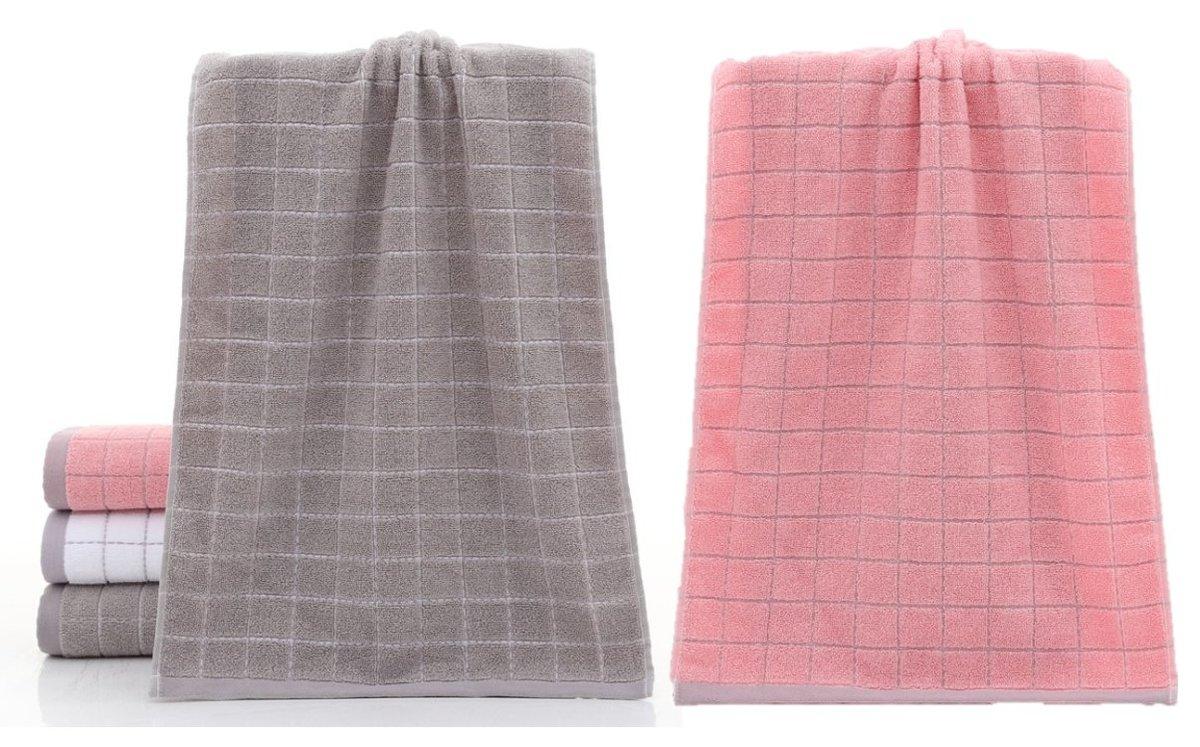 純棉方格面巾(2條裝:粉紅色+灰色)