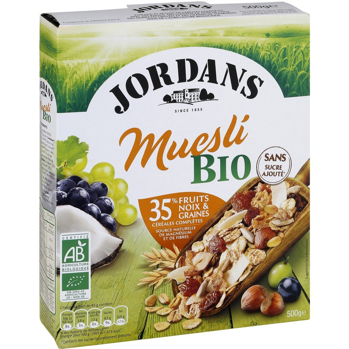 Direct from France - JORDANS - Orangic Grapes & Hazelnut Muesli - 500g