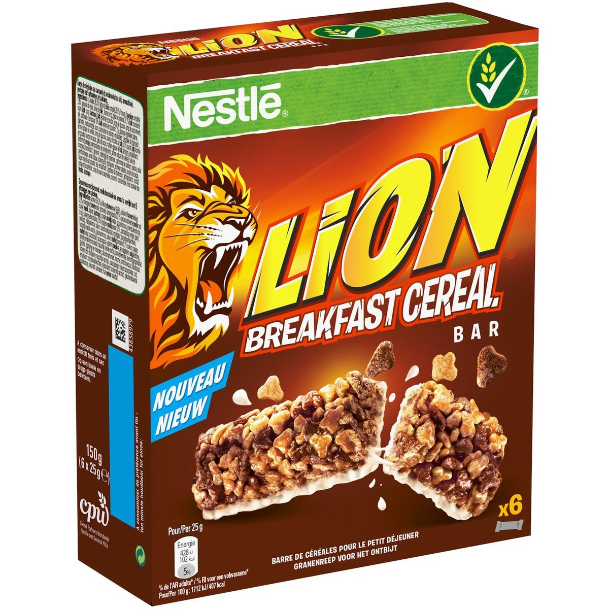 Direct from France - NESTLE - LION Cereal Breakfast Bars - 6 packs