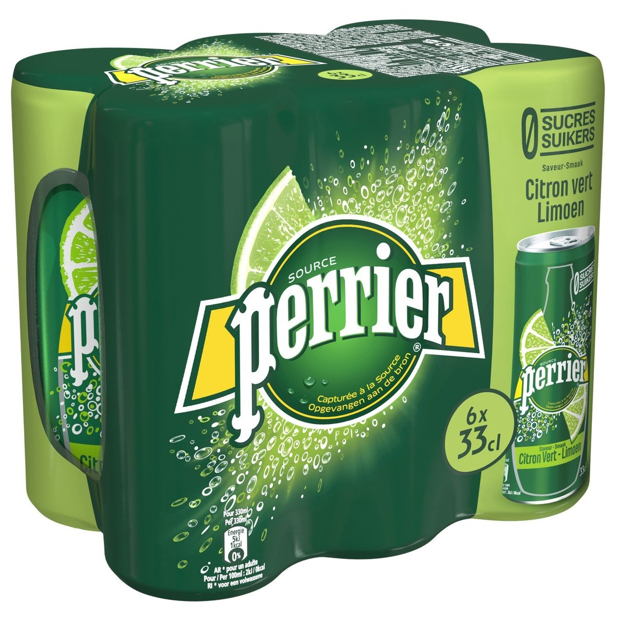 PERRIER - Sparkling Water Lime Sugar Free - 6x330ml