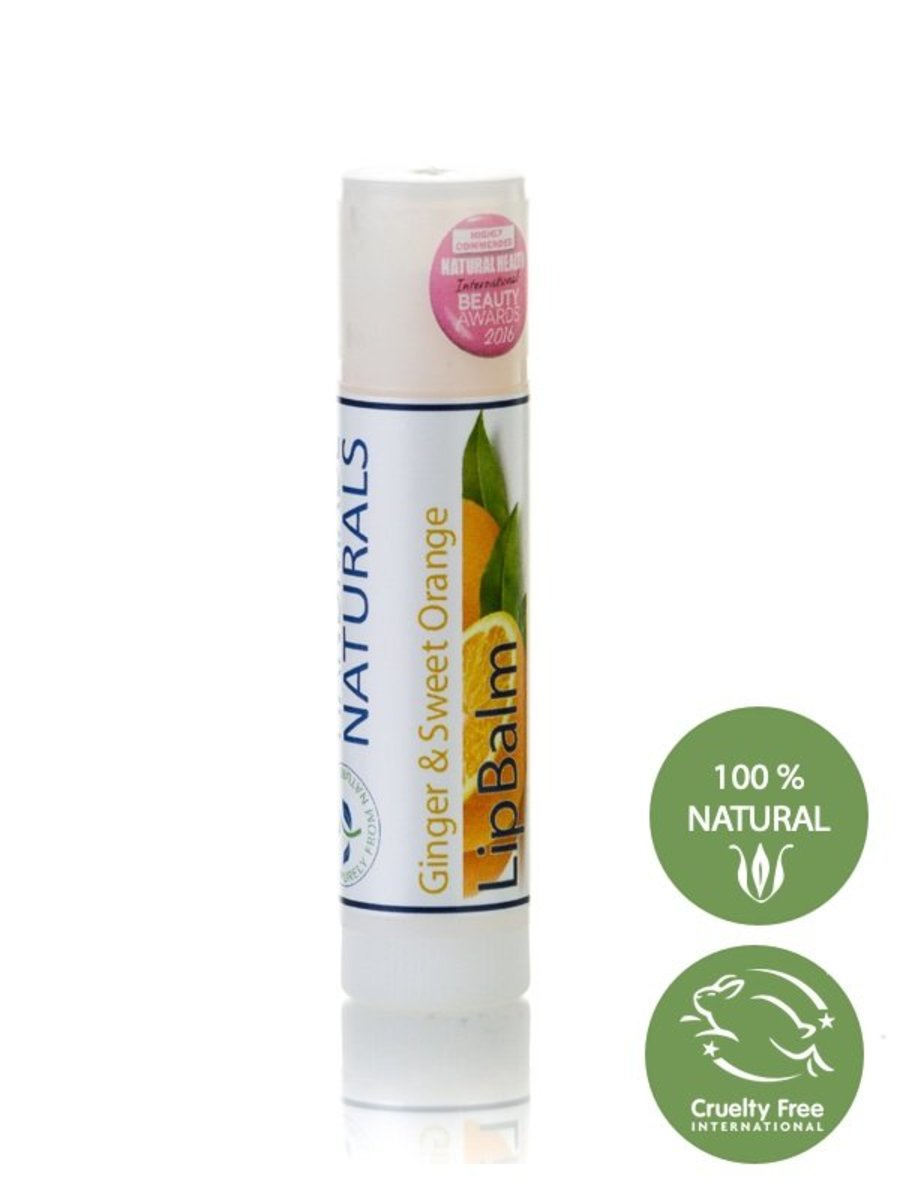 *GINGER & ORANGE* Natural LIP BALM STICK with Organic Beewax, Sweet Almond, Organic Cocoa Butter & C