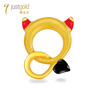 Angel and Devil: 999.9 Gold Chinese Enamel Single Earring