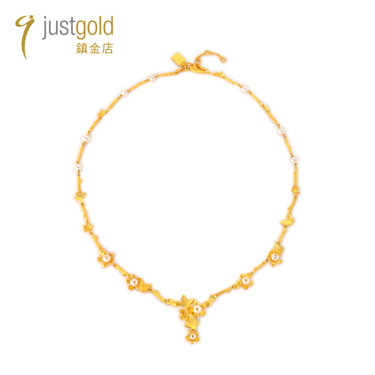 Wings on Petal Collection: 999.9 Gold Pearl Necklace (New edition)