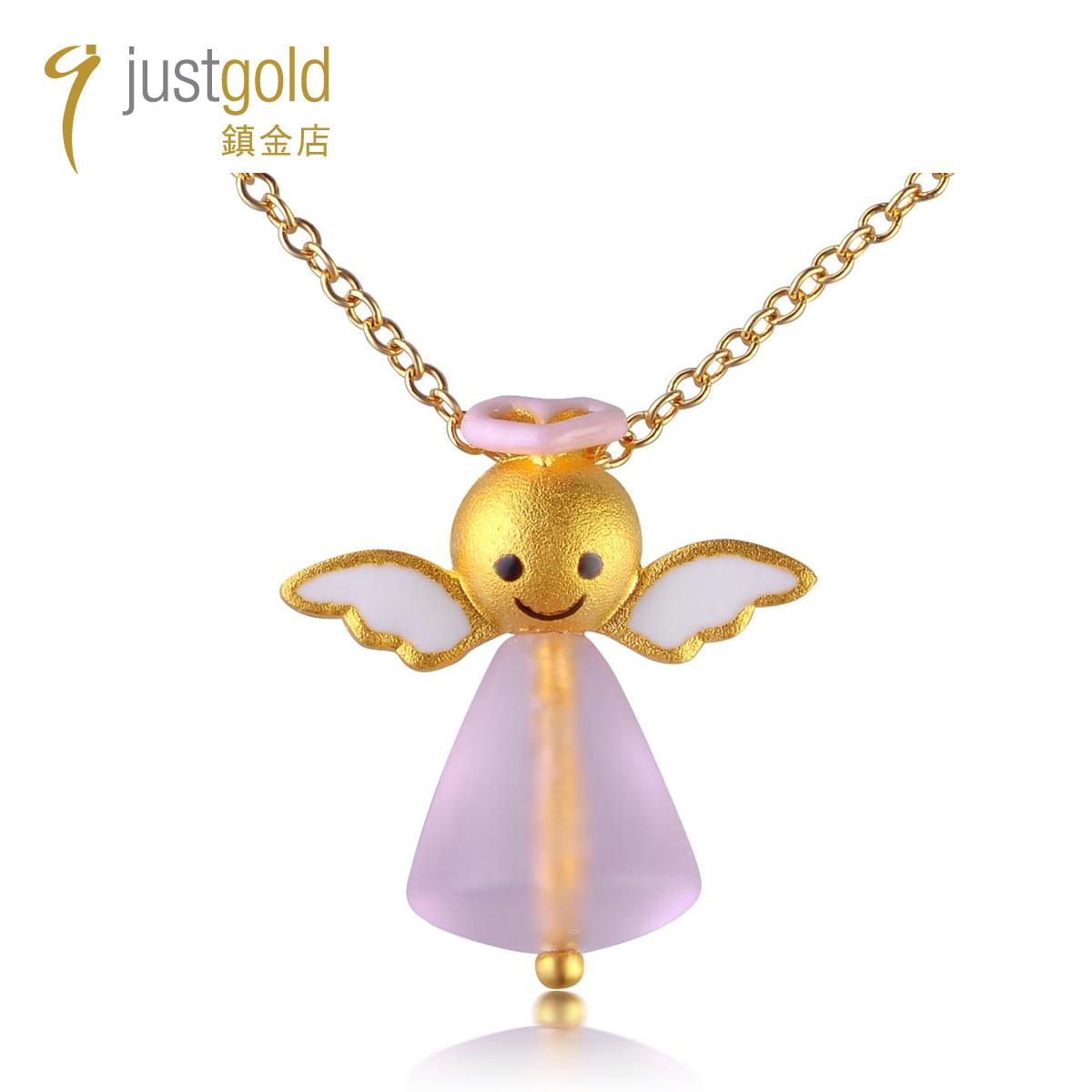 粉紅天使: 999.9純金釉彩及琉璃吊墜