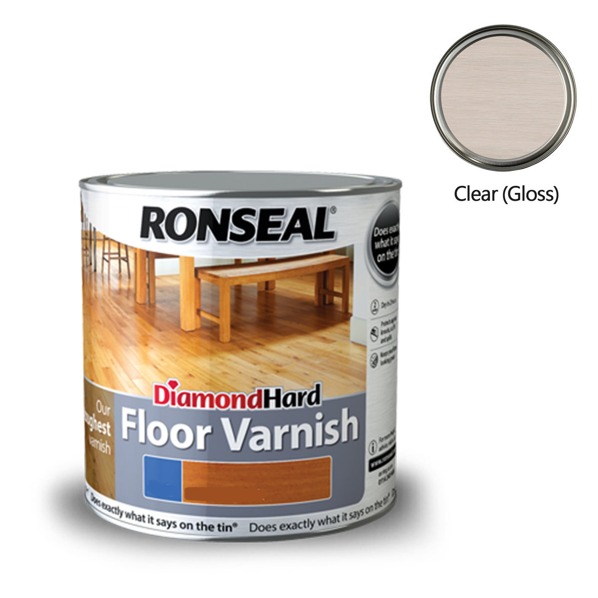 Ronseal Diamond Hard Floor Varnish 2 5l Clear Gloss 32582