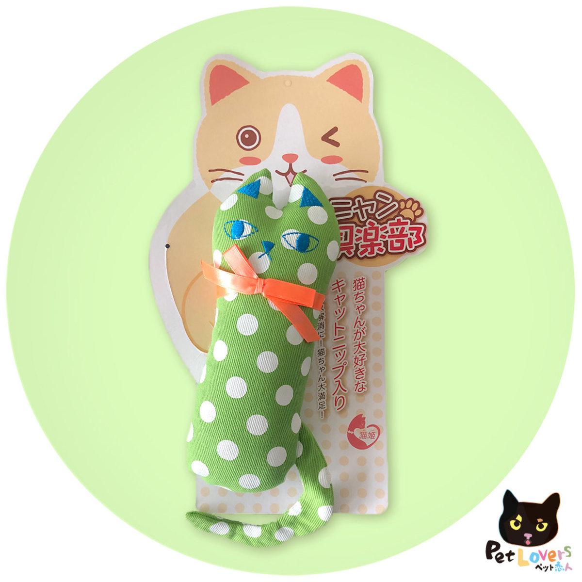 日本貓薄荷玩具抱枕 - 大點點貓咪(綠色波點)