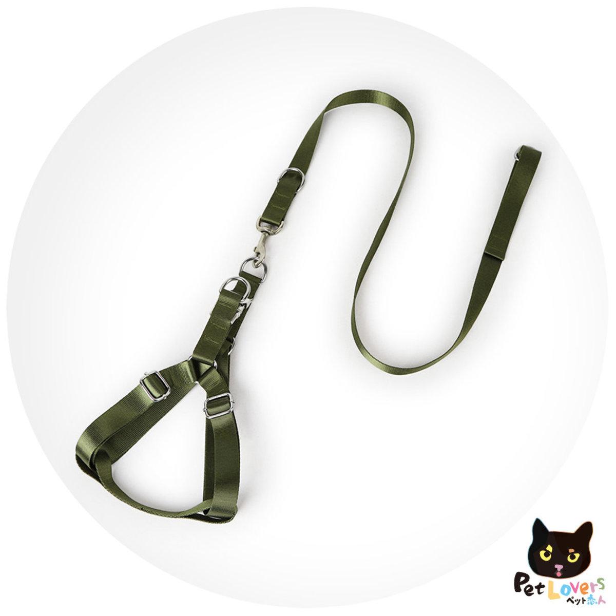 大狗用加厚鐡扣胸背牽引繩-軍綠色(適合中大型犬)