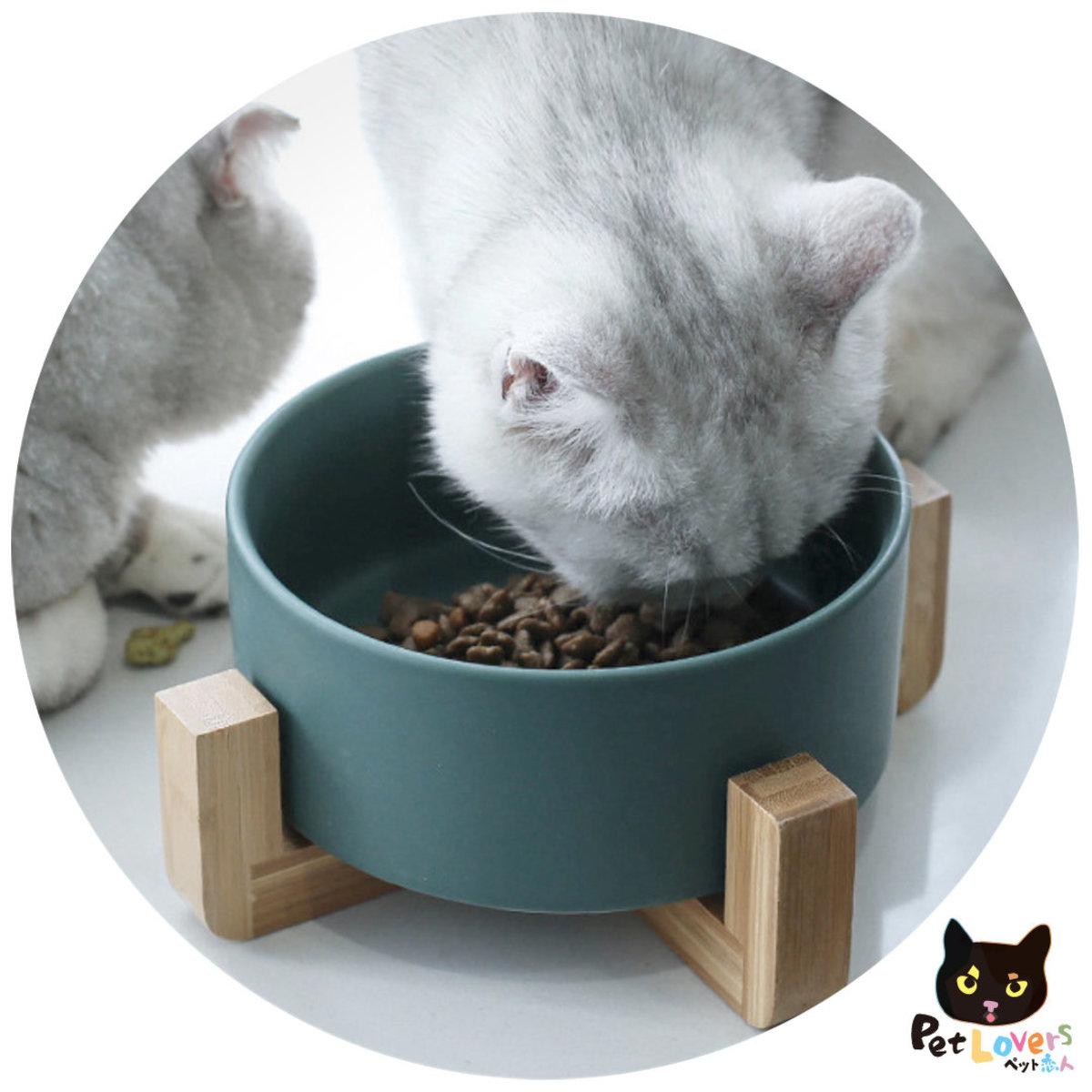 Ceramics pet bowl with wood frame(Grey)