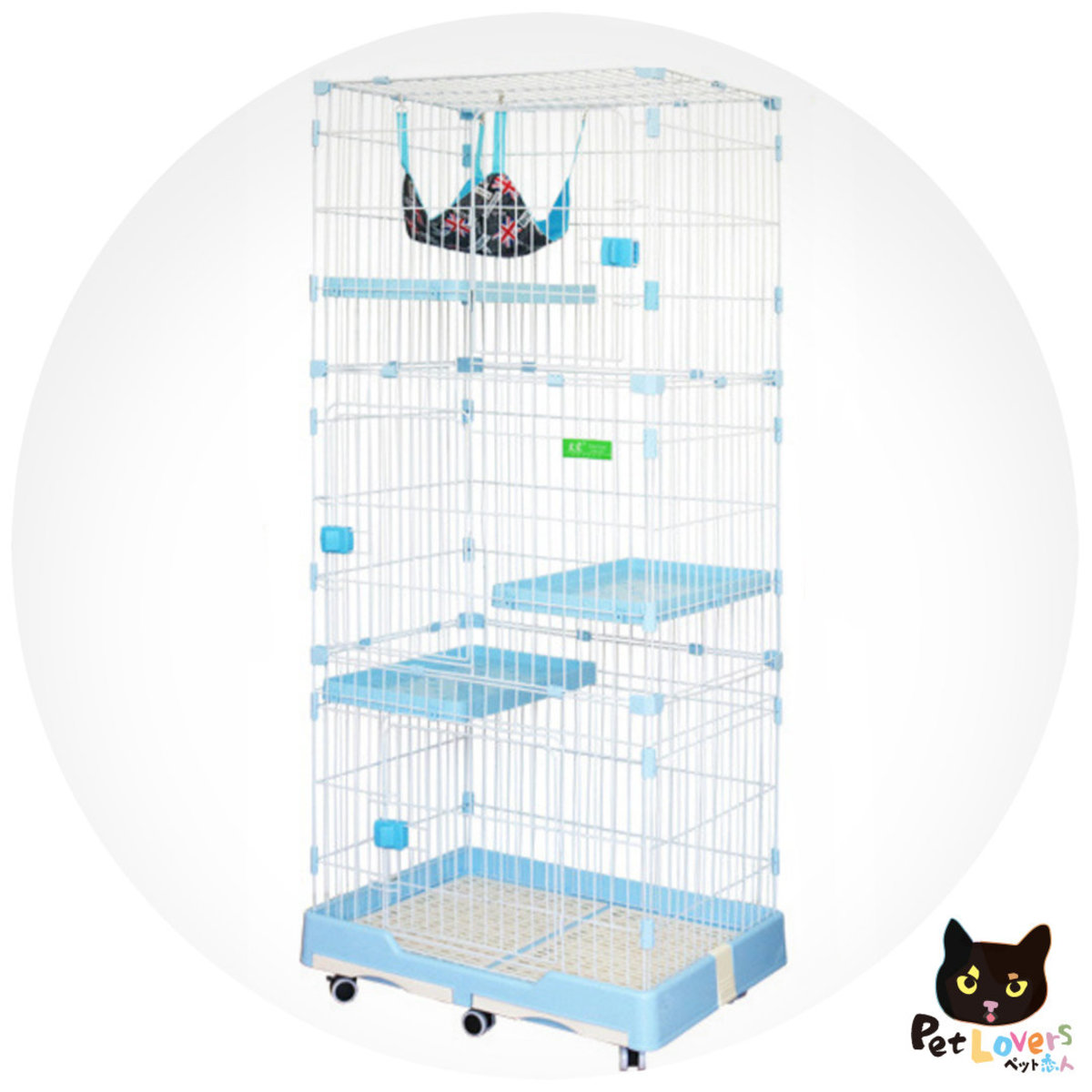 Pet Cage four Floor with wheels 74(L) * 47(D) * 146CM (H) - Blue