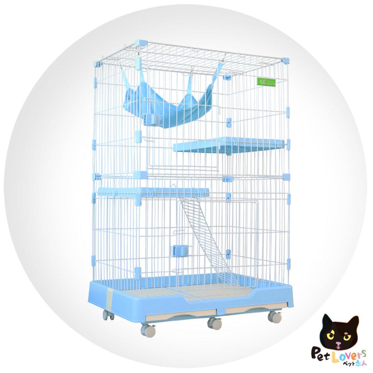 兩呎半-貓別墅豪華三層貓籠-帶滾輪(小號)72*47*102cm 藍色