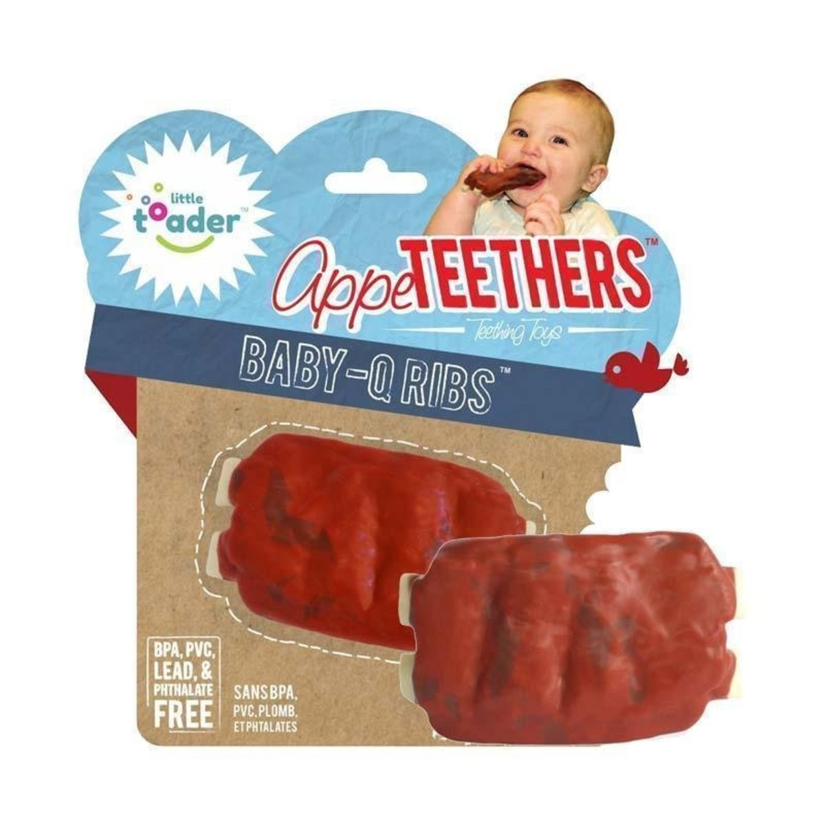 Teething Toys - Soft Silicone Food Shaped BPA Free Teethers (Baby-Q Ribs)